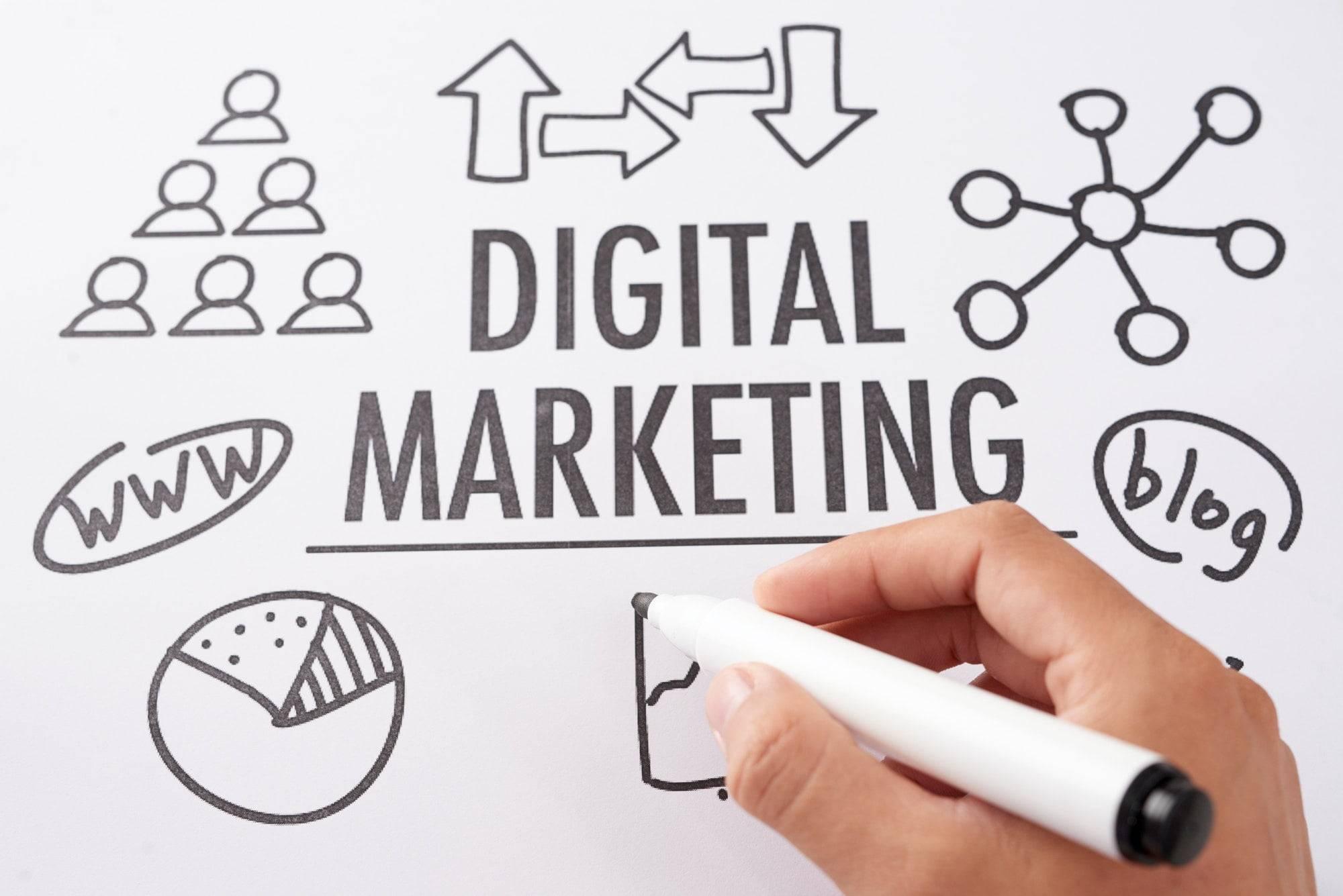 Crop hand drawing digital marketing plan